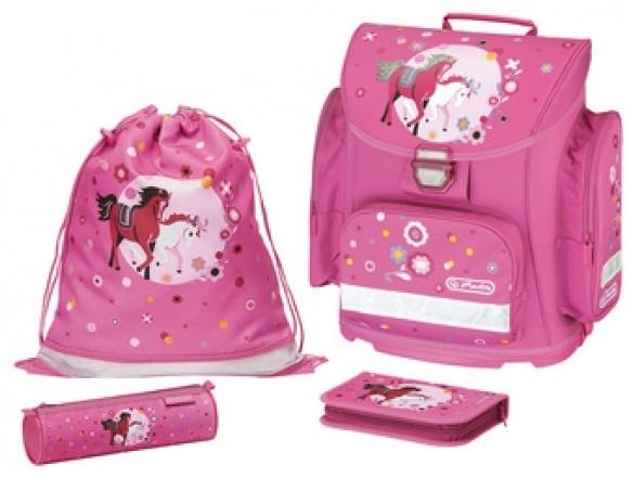 Školní batoh Herlitz Midi Koně růžový vybavený -nezobra  2cbf32078c