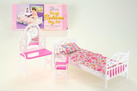 Glorie Postel + toaletka (noční stolek) pro panenky