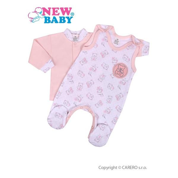 2-dílná kojenecká souprava New Baby Roztomilý medvídek RŮŽOVÁ vel.74