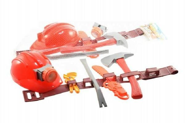 Nářadí hasič plast 7ks s opaskem a přilbou