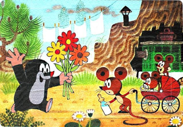Pěnové puzzle Krtek s květinou 24dílků