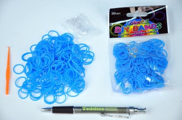 Udělej si svůj náramek - gumičky 250ks modré s doplňky