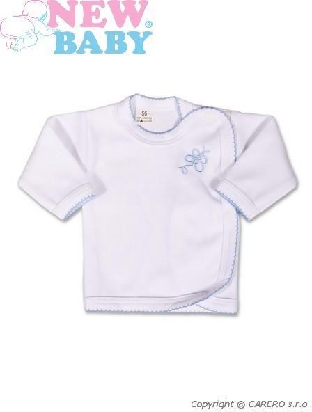 Kojenecká košilka New Baby Classic v modrým lemem a výšivkou vel. 56