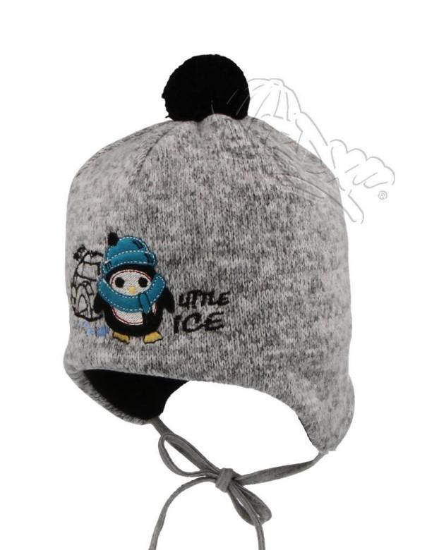 Zimní zavazovací čepice tučňák šedá vel. 3 (48-50 cm)  f7cda36225