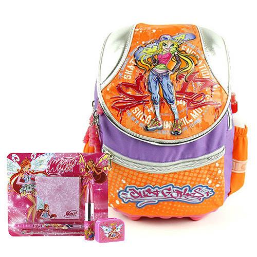Školní batoh Cool set - 4-dílná sada - batoh Cool skateboard + školní doplňky Winx