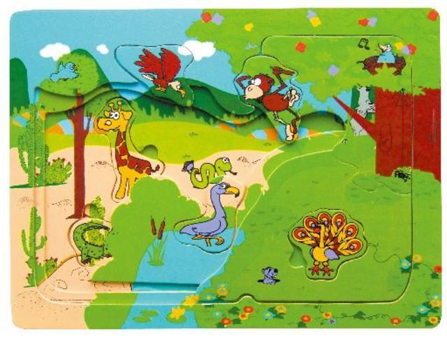 Dřevěné puzzle multi zoo