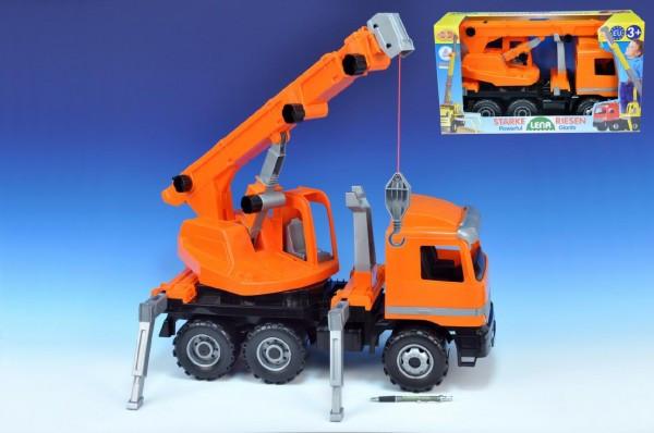 Lena Autojeřáb plast 70cm 3-osý oranžový v krabici