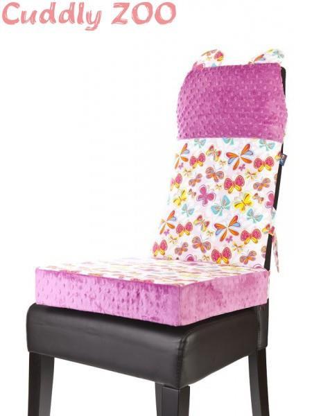 Set na židli opěrka a polštář Cuddly Zoo - Motýl světle fialový