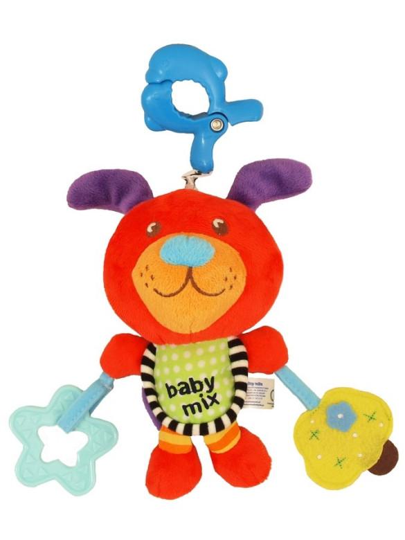 Plyšová hračka s hracím strojkem Baby Mix - Pejsek červený