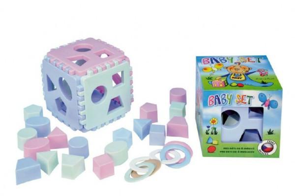 Baby set vkládací kostka Mimi+kousací kroužky v krabičce od 6 měsíců