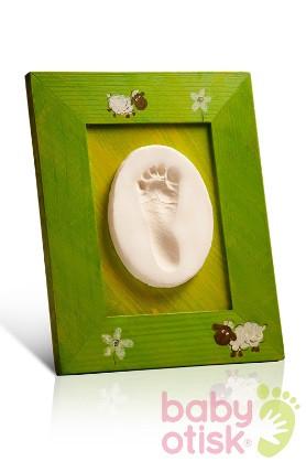 BABY OTISK – sada pro otisk s ručně malovaným rámkem – zelená