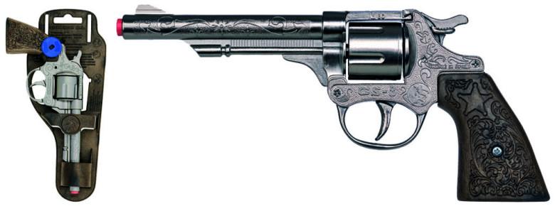 Revolver kovbojský stříbrný, kovový - 8 ran nezobra