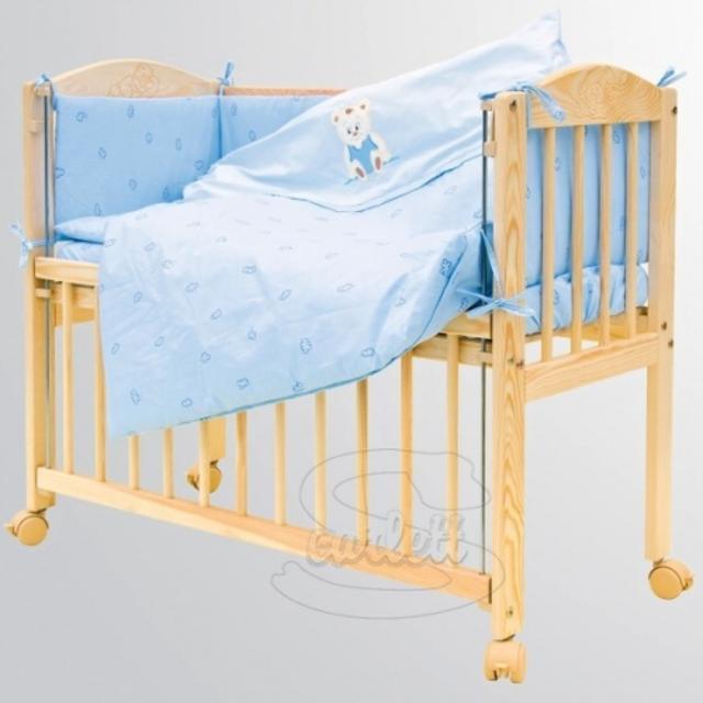 Souprava 7 dílná do postýlky Baby Scarlett Méďa modrý
