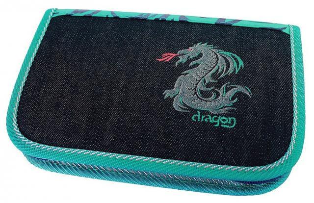 Školní pouzdro 2-klopy Dragon tyrkysová prázdné Emipo