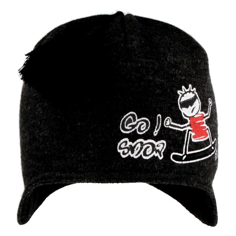Zimní chlapecká čepice na uši se střapcem šedo-černá RDX  b5b698a7be