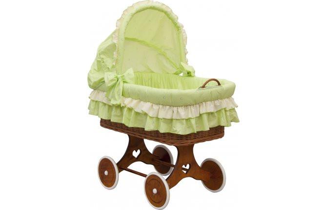 Proutěný koš na miminko s boudičkou Dráček-zelený