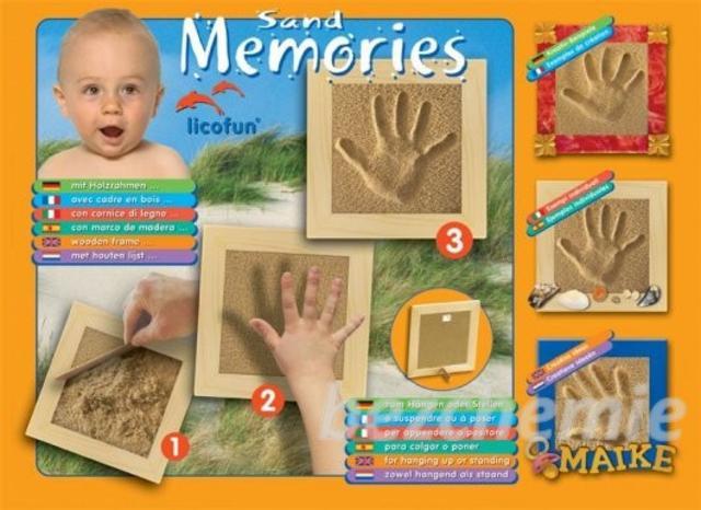 Otisk ručičky nebo nožičky v písku - přírodní s dřevěným rámečkem