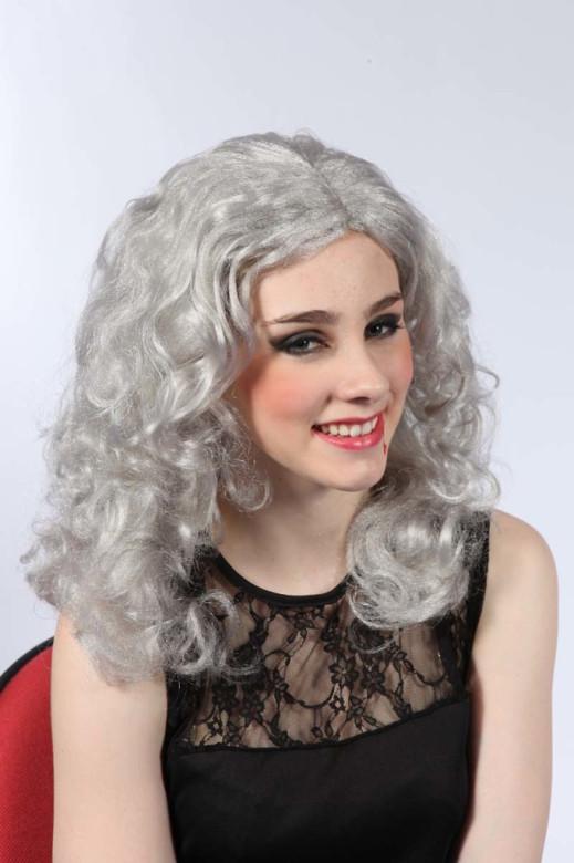 Paruka bílá - dlouhé vlnité vlasy