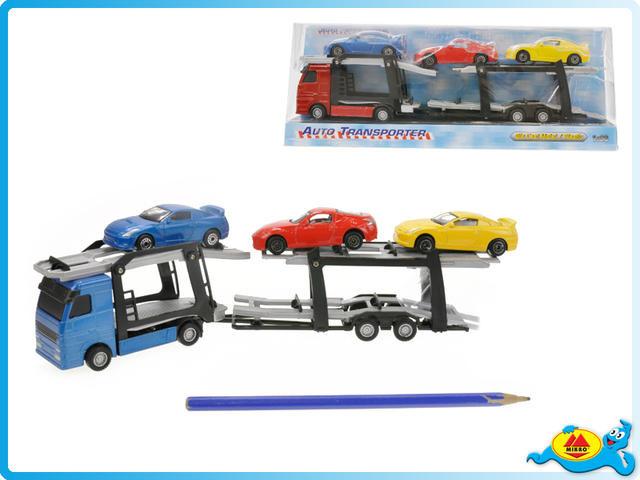 Přepravník aut kov 1:60 + 3auta