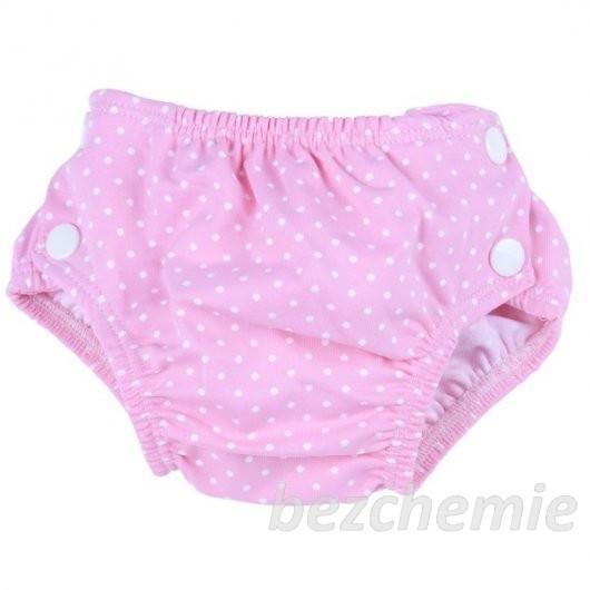 Plenkové plavky růžový puntík VEL. S (3–9 kg) Popolini