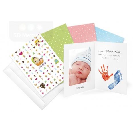 3D Memories Oznámení o narození miminka - pro otisky ručiček i nožiček a fotografii miminka