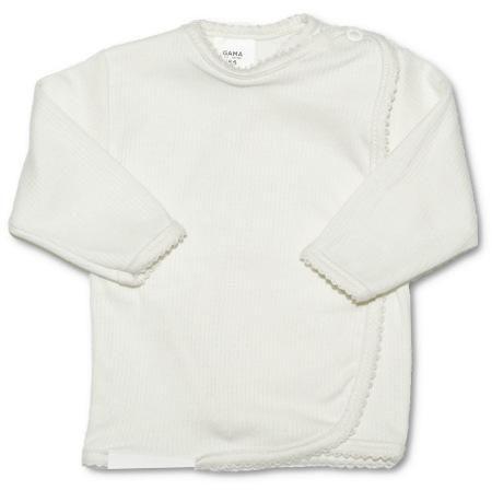 Kojenecká košilka zavinovací vel. 50 PROUŽKY BÍLÁ