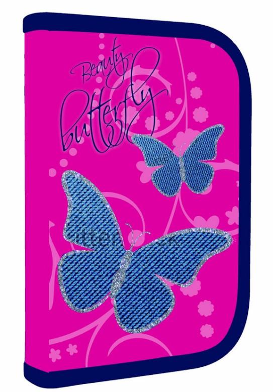 Jednopatrový penál plný Motýlci Butterfly 2016 NEW nezobra