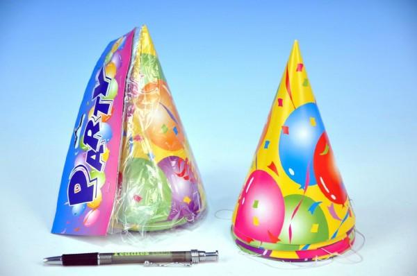 Klobouk na karneval papír 16cm 6ks v sáčku