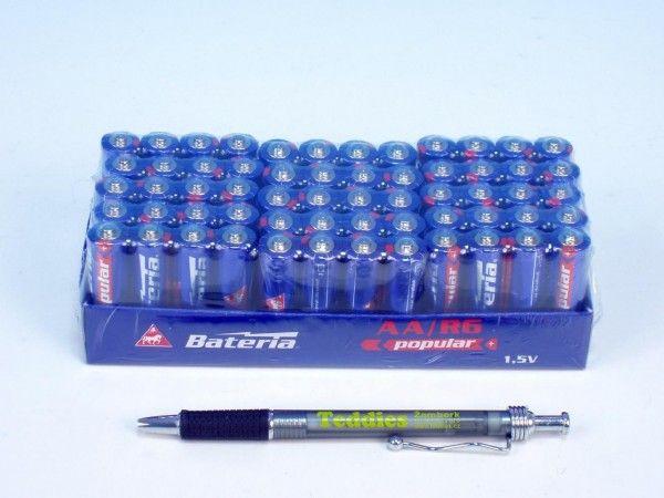 Baterie Popular R6/AA 1,5V zinkochloridové 4ks ve folii