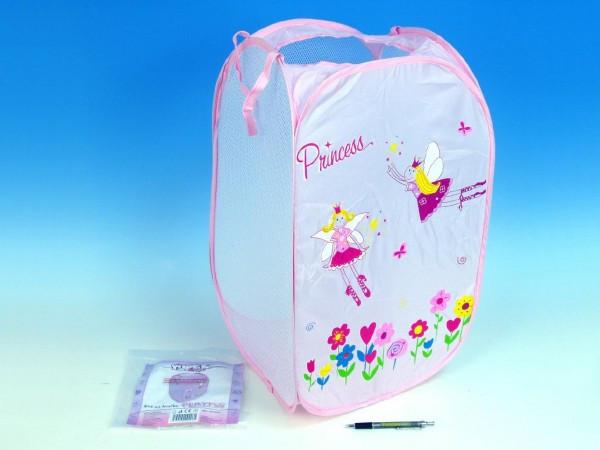 Koš na hračky Princess růžový 36x36x58cm