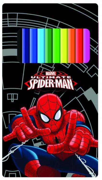 Pastelky v plechové krabičce 12 ks Spiderman nezobra