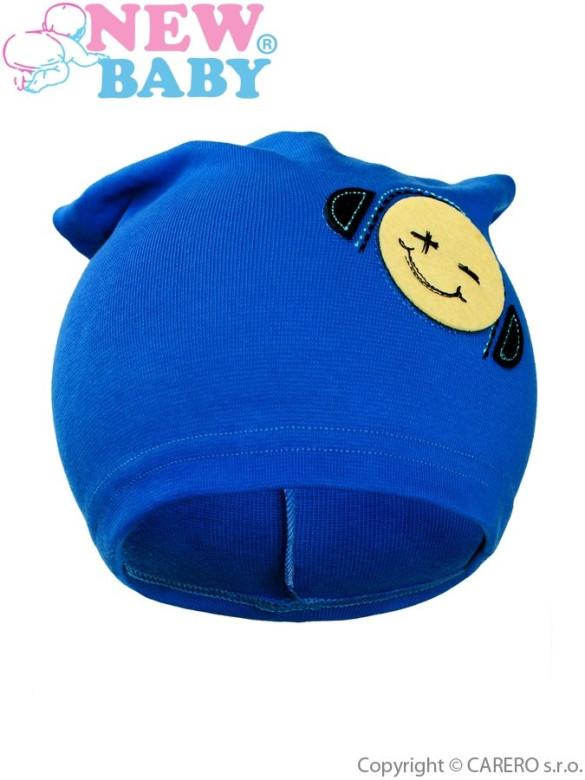 Podzimní dětská čepička New Baby Smajlík modrá vel. 110