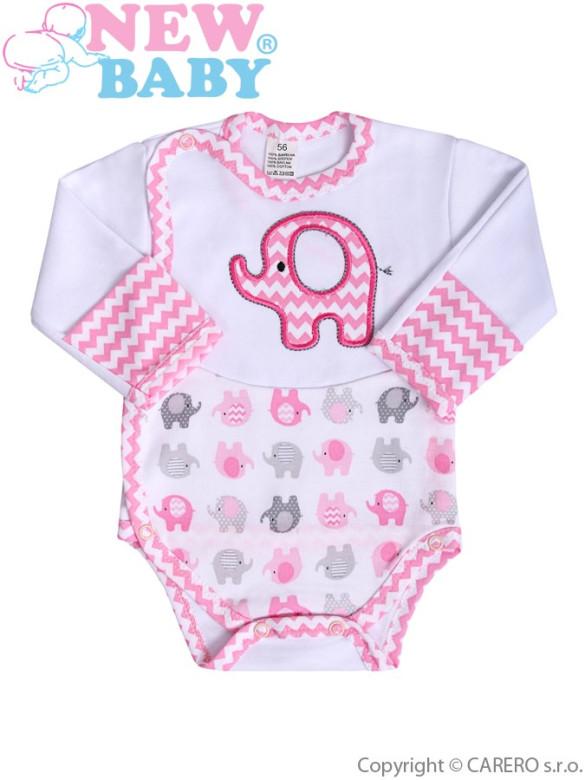 Kojenecké body s dlouhým rukávem New Baby Sloník bílo-růžové s bočním zapínáním vel. 62