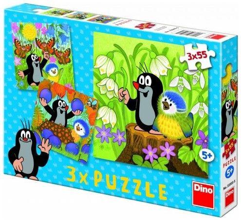 Puzzle 3 x 55 dílků Krtek a ptáček