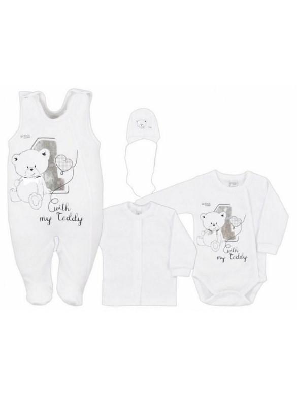 4-dílná kojenecká souprava v Eko krabičce Bobas Fashion Teddy bílá