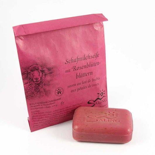 Mýdlo z ovčího mléka s lístky růží (bio)