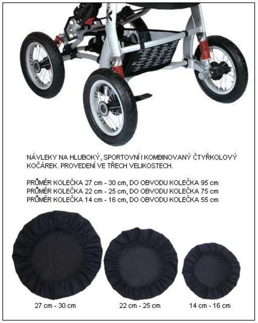 Návlek na kolo kočárku průměr kolečka 16-18 cm, 1 ks