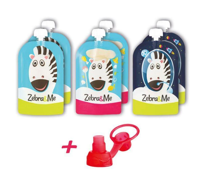 Kapsičky na dětskou stravu pro opakované použití Zebra&Me 6 ks + náustek ZDARMA