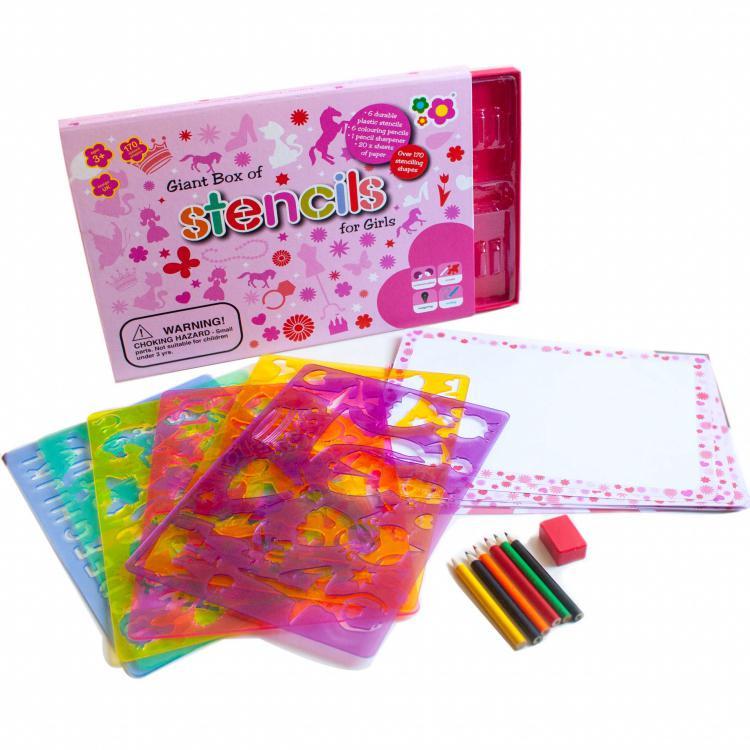 Meadow Kreslicí šablony s pastelkami velký box pro holčičky