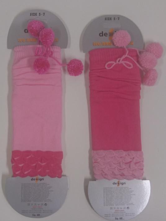 Design Socks Dětské návleky na nožičky proužkované RŮŽOVÉ S BAMBULKAMI TYP002