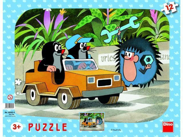 Puzzle deskové Krteček a autíčko 12 dílků