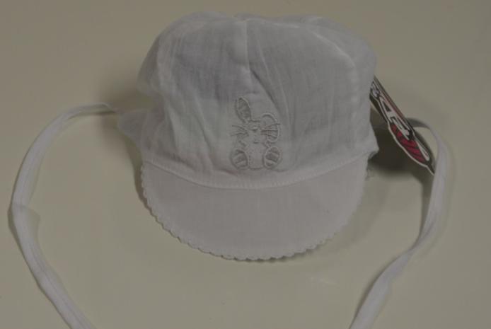 Kšiltovka kojenecká zavazovací vel. 40 - BÍLÁ