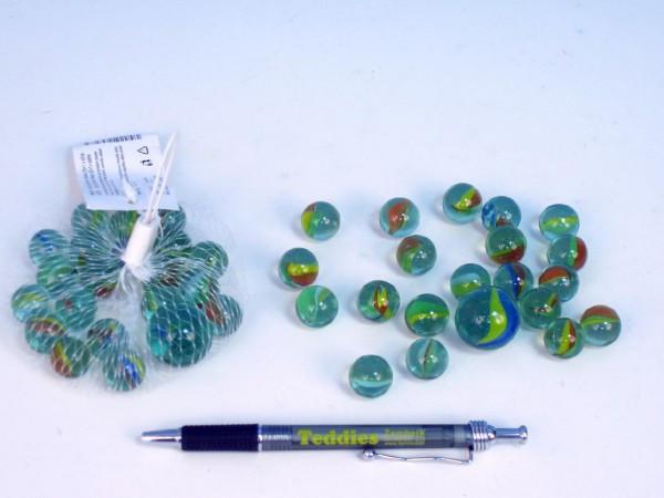 Kuličky cvrnkací skleněné duhové 1,6cm 130g 20+1ks v síťce