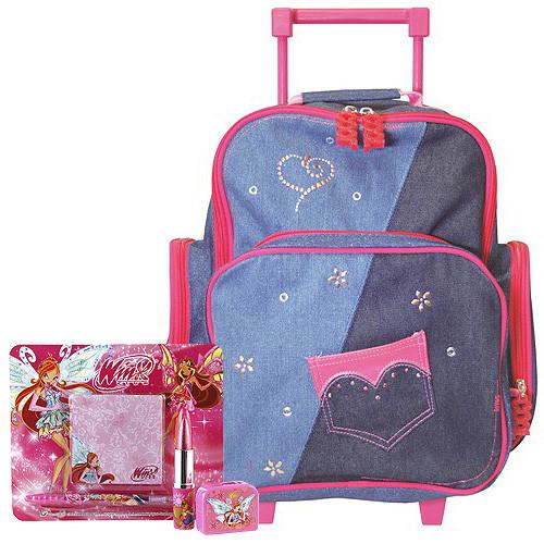 Školní batoh Cool trolley set - 4-dílná sada - jeans + doplňky Winx nezobra