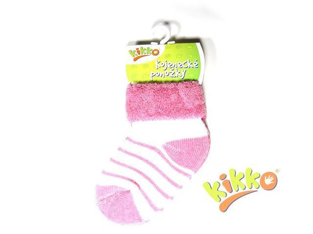 Kojenecké ponožky froté KIKKO 6 -12 měs fialkové proužky typ 38
