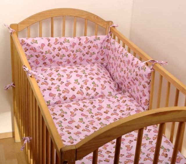 Dětské povlečení 2dílné růžové medvídci 130 x 90 cm