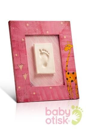 BABY OTISK – sada pro otisk s ručně malovaným rámkem – růžová