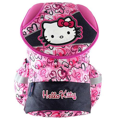 Školní batoh Hello Kitty - Modro-růžový s motivem srdíček
