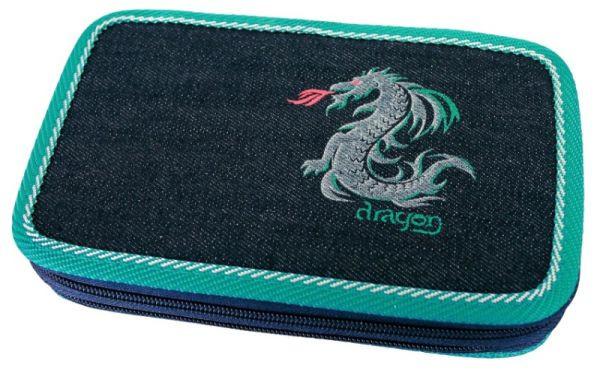 Školní penál 2-patra Dragon tyrkys prázdné Emipo
