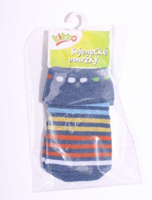 33fe9f29ee3 Kojenecké ponožky bavlna KIKKO 6-12 m MODRÁ PRUH 558